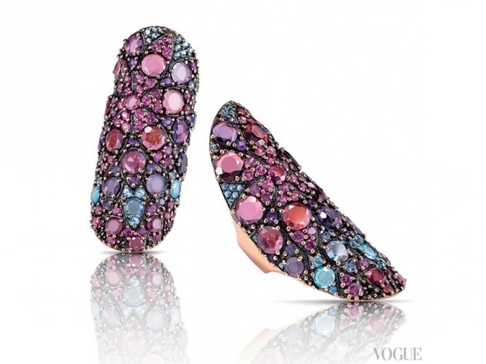 Кольцо?Mandala, розовое золото, аметисты, родолиты, иолиты, голубые топазы, Pasquale Bruni