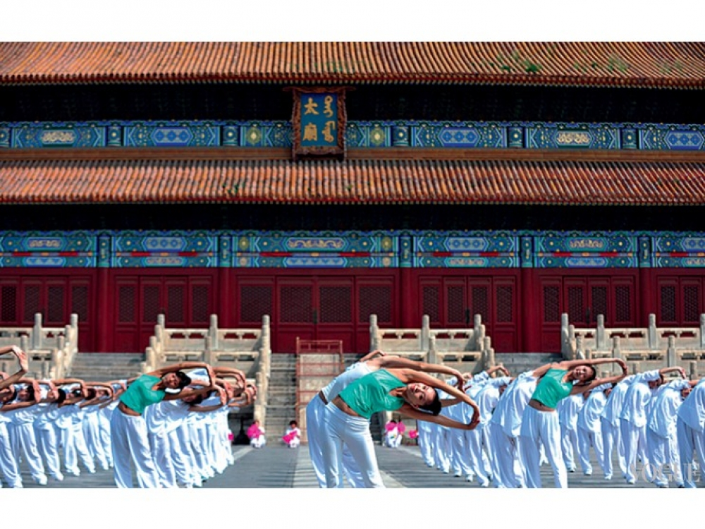 Массовые занятия йогой в Пекине