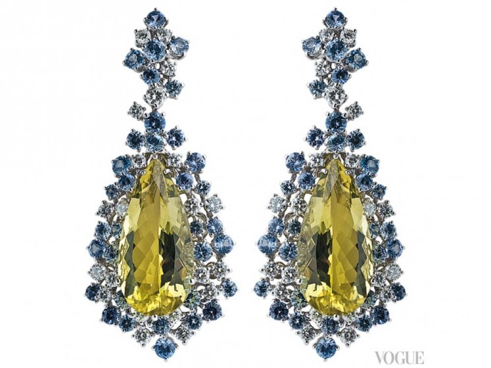 Серьги Anima Masterpiece, белое золото, бриллианты, лимонный кварц, сапфиры, голубые топазы Damiani