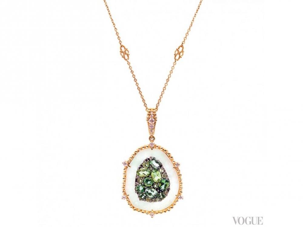 Колье, коллекция Oasis, желтое золото, бриллианты, нефрит, перидоты, зеленые турмалины, Judith Ripka