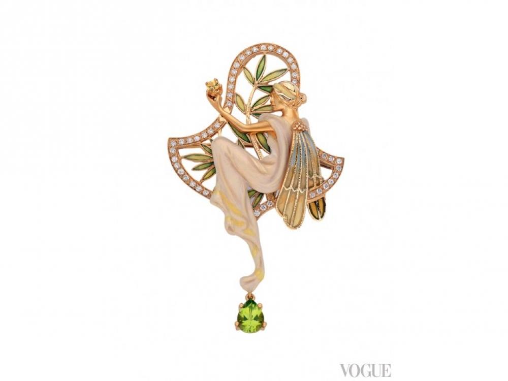 Брошь Art Nouveau, желтое золото, бриллианты, цитрины, эмаль,  Masriera