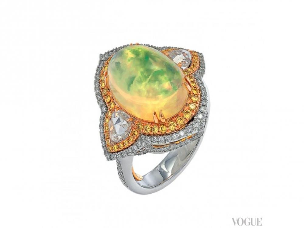 Кольцо Florentine Mosaic, золото, белые и желтые бриллианты, опал, Italian Design