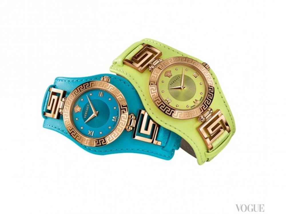 Часы V-Signature, кварцевый механизм, корпус из розового золота, безель с греческим орнаментом, двойной ремешок из лакированной кожи, Versace