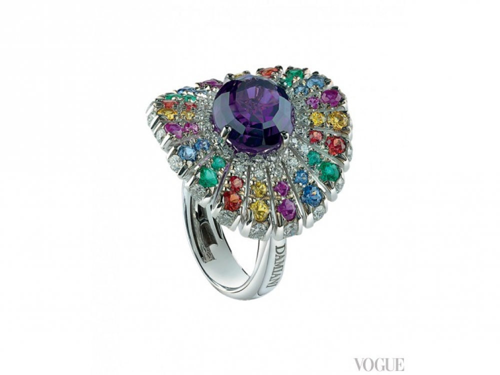 Кольцо Sufi, белое золото, бриллианты, сапфиры, изумруды и аметисты, Damiani