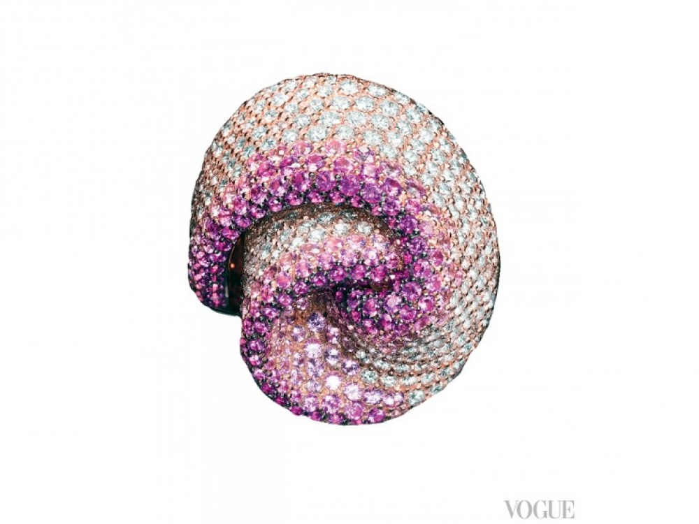 Кольцо Nastro, розовое золото, бриллианты, розовые сапфиры, Palmiero