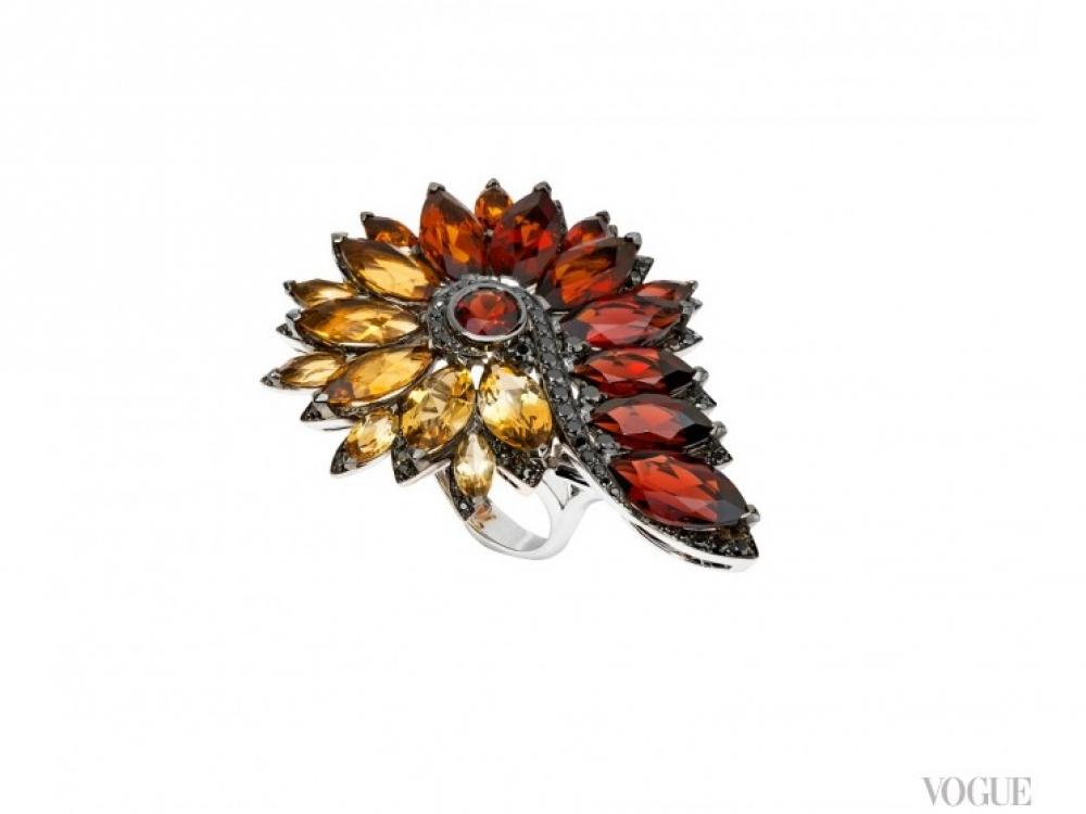 Кольцо Magnipheasant Feathers, белое золото, цитрины, гранаты, черные бриллианты, Stephen Webster