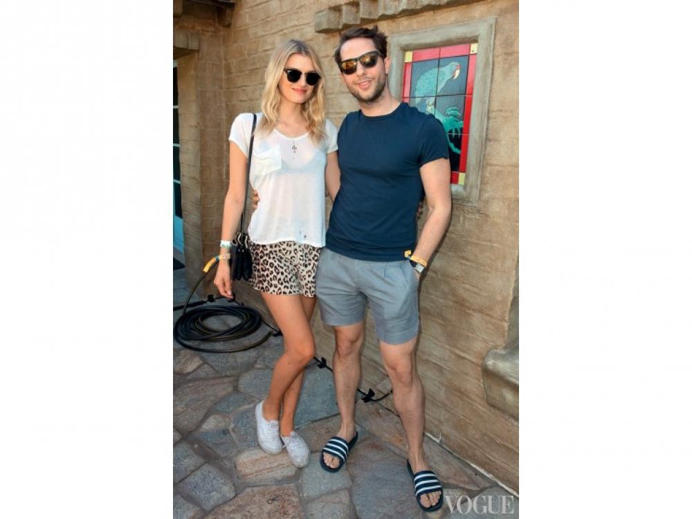 Модель Констанс Яблонски и fashion-журналист Дерек Бласберг, фестиваль Coachella, Лос-Анджелес
