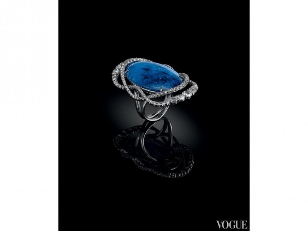 Кольцо Kashmir, белое золото, бриллианты, танзанит, Di Go