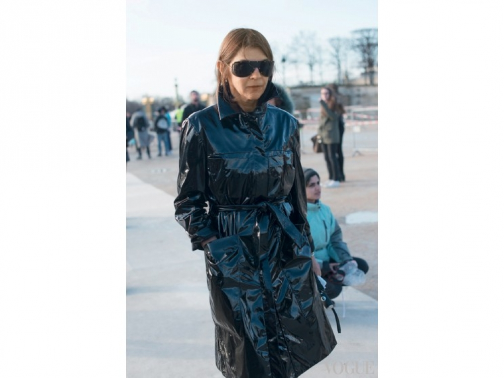 Карин Ройтфельд на Неделе моды в Париже, 2014