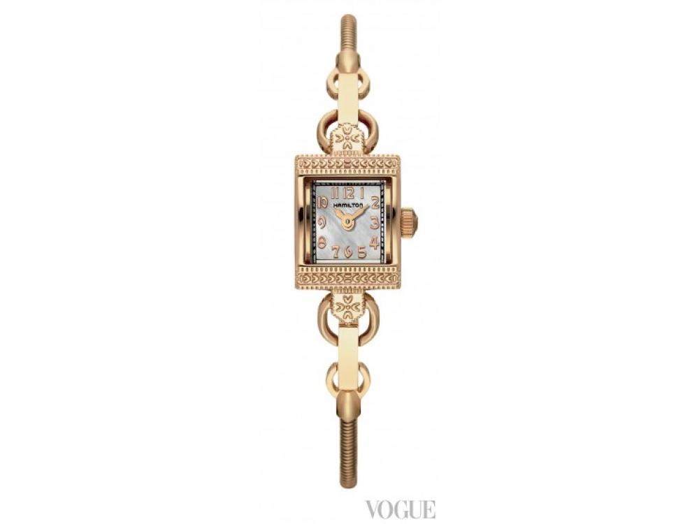 Часы Lady Vintage, позолоченный корпус и браслет, перламутровый циферблат, Hamilton