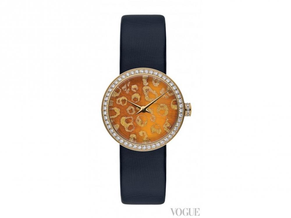 Часы?La D de Dior, желтое золото, бриллианты по безелю и заводной головке, сатиновый ремешок, Dior Fine Jewellery