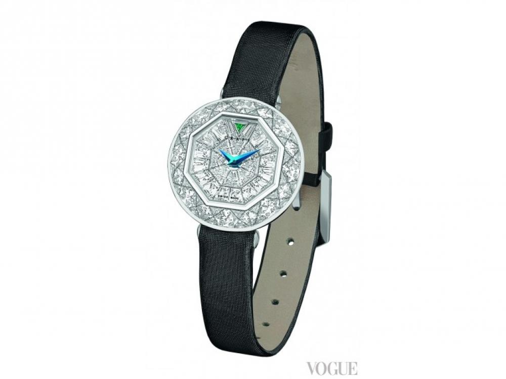 Часы BabyGraff, белое золото, бриллианты, изумруд, сатиновый ремешок, Graff Luxury Watches
