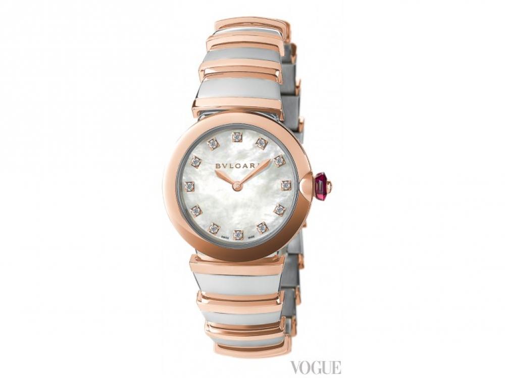 Часы?Lvcea, розовое золото и сталь, перламутровый циферблат, бриллианты, Bvlgari
