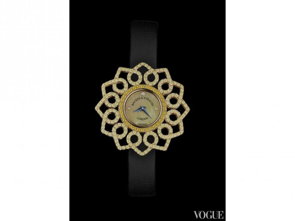 Часы?Victoria Jonquil, корпус из розового золота с желтыми бриллиантами 2,16 карата, перламутровый циферблат с бриллиантами, сатиновый ремешок, Backes?&?Strauss