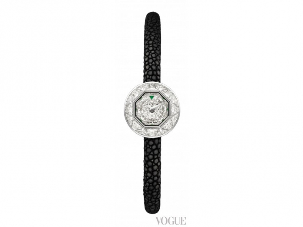 Часы BabyGraff Exotic, белое золото, изумруды, бриллианты, Graff Luxury Watches