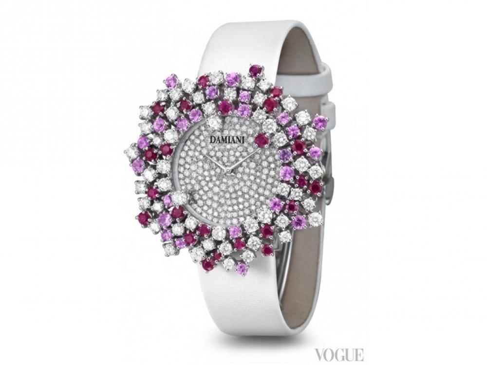 Часы MIMOSA, белое золото, бриллианты, розовые сапфиры, рубины, Damiani