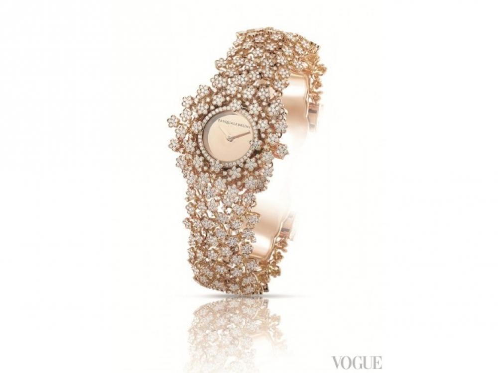 Часы Flower Time, желтое золото, бриллианты, сапфировое стекло, Pasquale Bruni