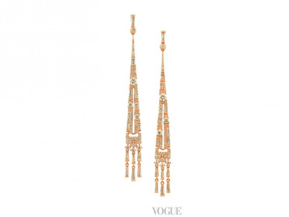 Серьги Sunbeam, коллекция Art Deco, розовое золото, белые бриллианты, Bellduc