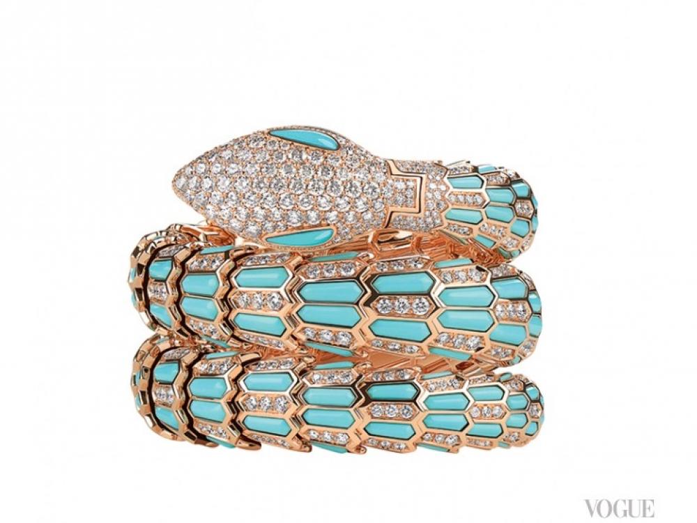 Часы Serpenti, розовое золото, циферблат и браслет украшены бриллиантами и бирюзой огранки «бриллиант», Bvlgari