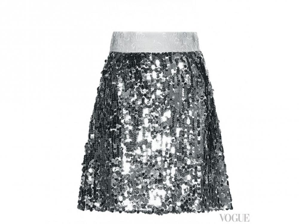 Юбка из хлопка, расшитая пайетками, Dolce & Gabbana