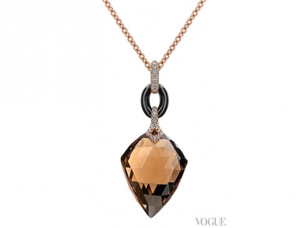 Кулон, розовое золото, бриллианты, оникс, дымчатый кварц, Crivelli