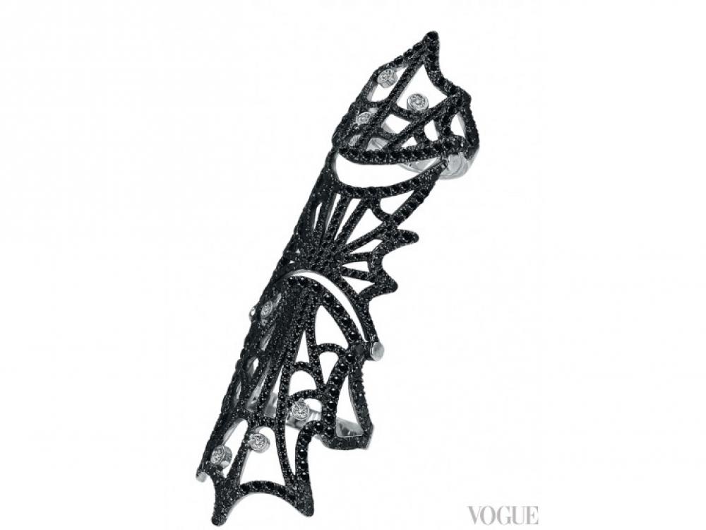 Кольцо Jacob's Web, белое золото, белые (0,16 карат) и черные (3,75 карат) бриллианты, Jacob?&?Co.