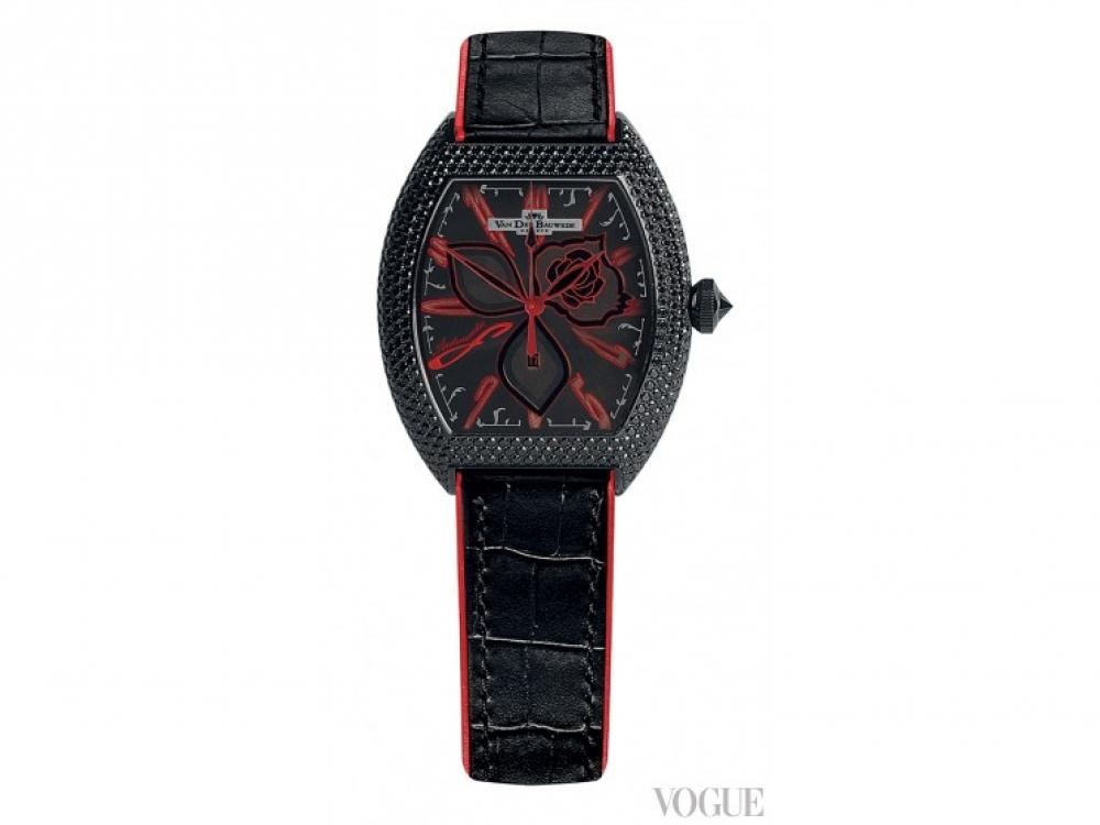 Часы Black Shadow, сталь с черным PVD-покрытием, черные сапфиры, ремешок из кожи крокодила, Van Der Bauwede