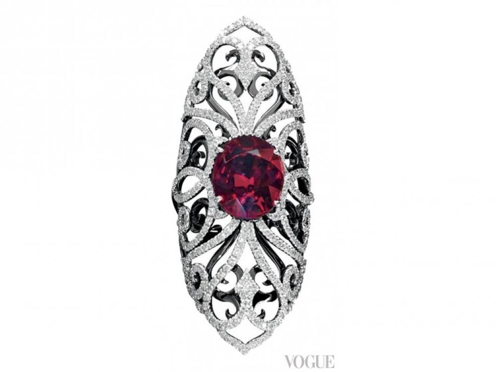 Кольцо Henna, белое золото, бриллианты, рубеллит, Van Der Bauwede