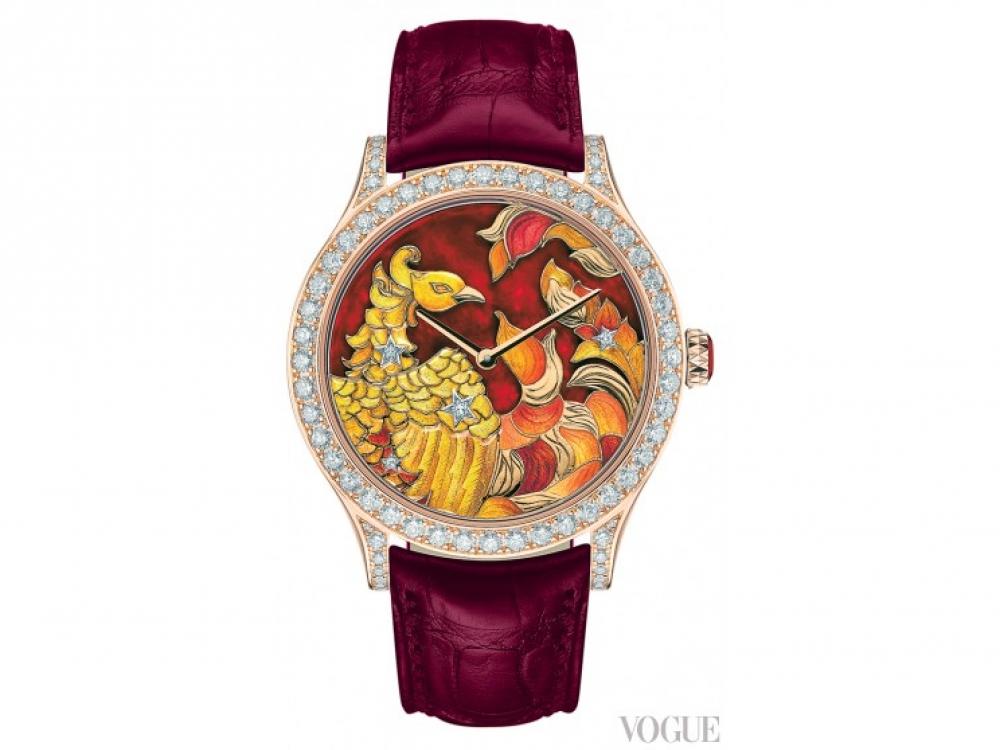Часы Midnight Constellation Phoenix Extraordinary Dial, корпус из розового золота, белые бриллианты, циферблат из желтого и белого золота, перегородчатая и рельефная эмаль, карнелиан, ремешок из кожи аллигатора, лимитированная серия из 22 экземпляров, Van