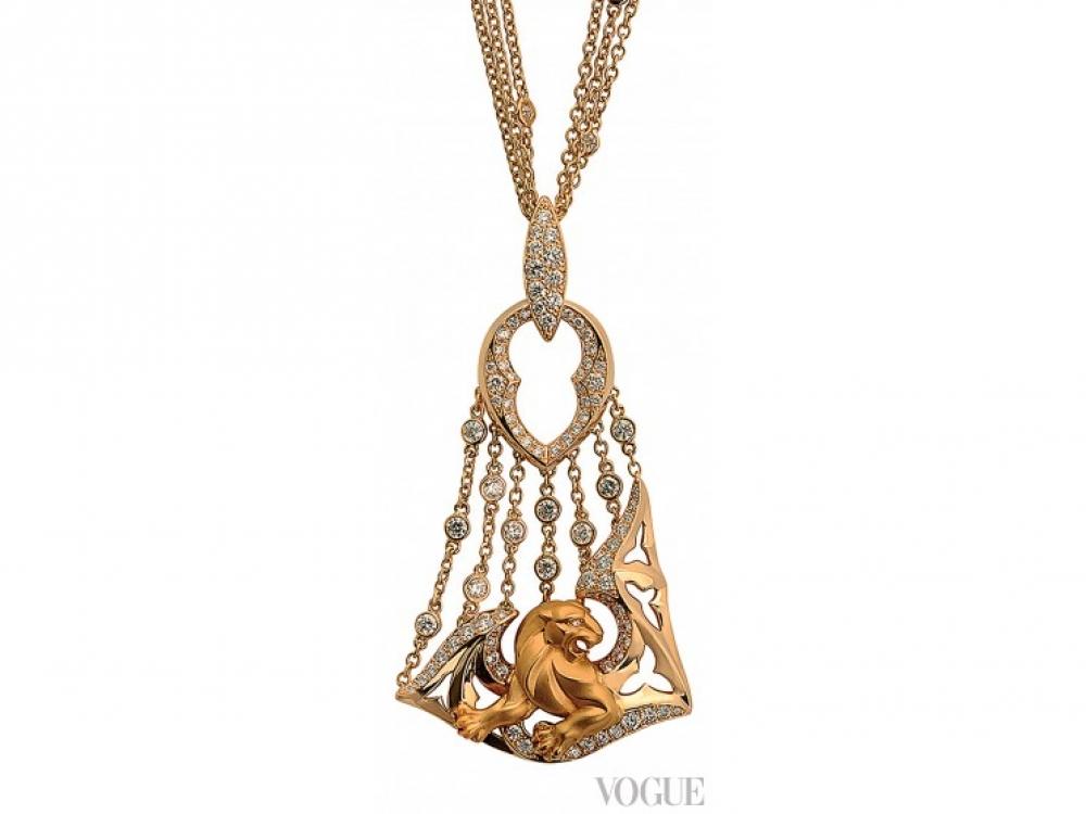 Колье Vitral, желтое золото, белые бриллианты, Magerit