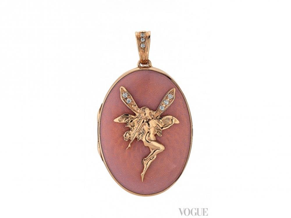 Медальон, розовое золото, белые бриллианты, розовая эмаль в технике гильоше, Victor Mayer