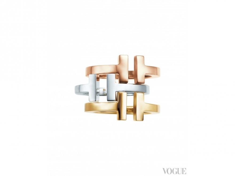 Кольца, розовое, желтое золото, серебро |Tiffany T