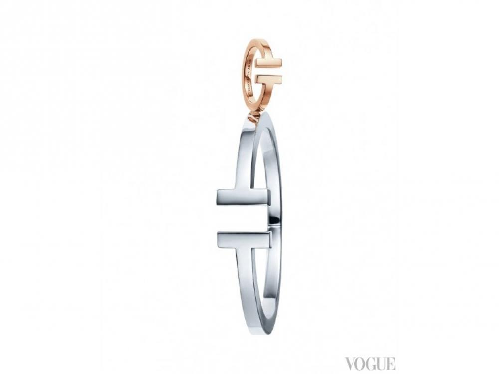 Кольцо, розовое золото; браслет, серебро |Tiffany T