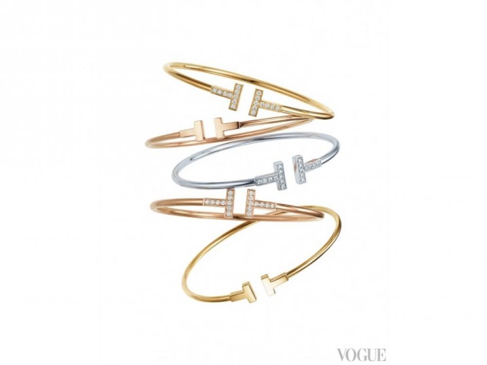 Браслеты, розовое, желтое золото, серебро, бриллианты |Tiffany T
