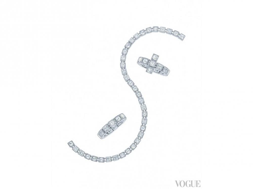 Браслет и кольца, белое золото , бриллианты |Tiffany T