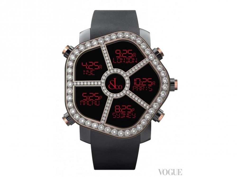 Часы Ghost, сталь с черным PVD-покрытием, розовое золото, бриллианты, каучуковый ремешок, Jacob & Co.