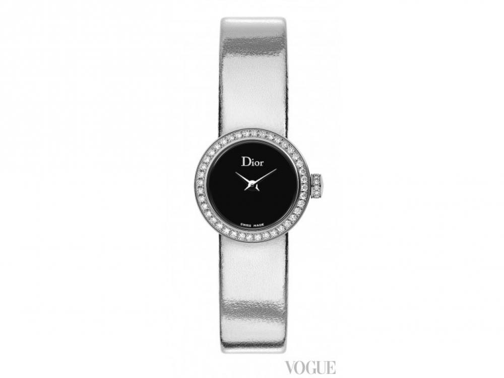 Часы La Mini D de Dior, сталь, бриллианты, перламутровый циферблат, кожаный ремешок с зеркальным покрытием, Dior
