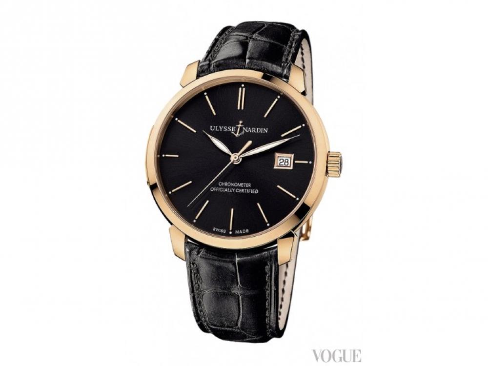 Часы Classico, розовое золото, ремешок из кожи крокодила, Ulysse Nardin