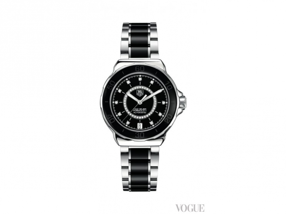 Часы Formula 1, сталь, керамика, бриллианты, Tag Heuer