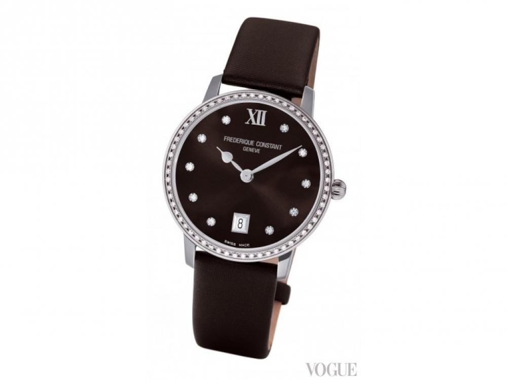 Часы Slim Line, сталь, сатиновый циферблат, бриллианты, кожаный ремешок, Frederique Constant
