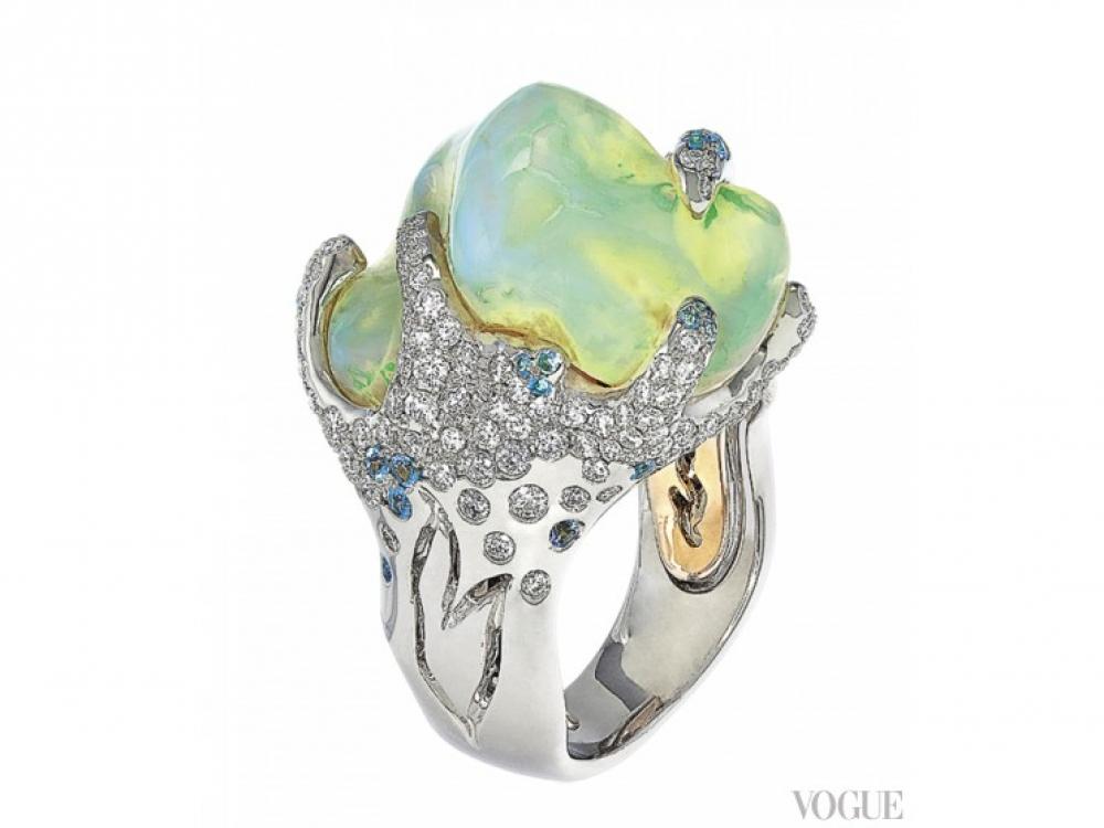 Кольцо, коллекция Ocean Breeze, белое золото, опал, турмалины Параиба, белые бриллианты, Italian Design