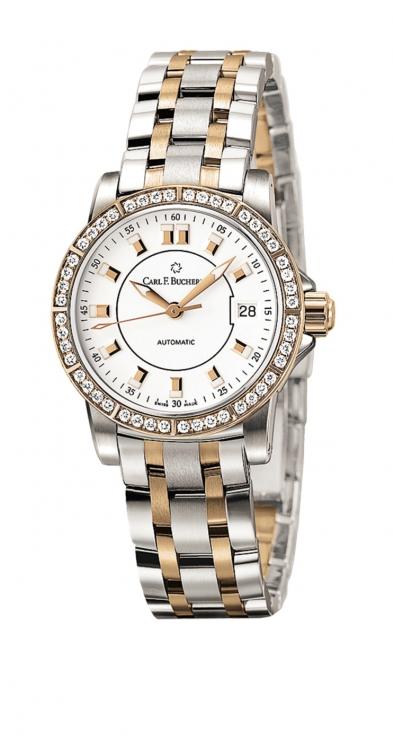 Часы Patravi AutoDate TwoTone, сталь, розовое золото, бриллианты, Carl F. Bucherer