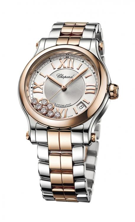 Часы Happy Sport, сталь, розовое золото, циферблат украшен гильоше и 7 плавающими бриллиантами, Chopard