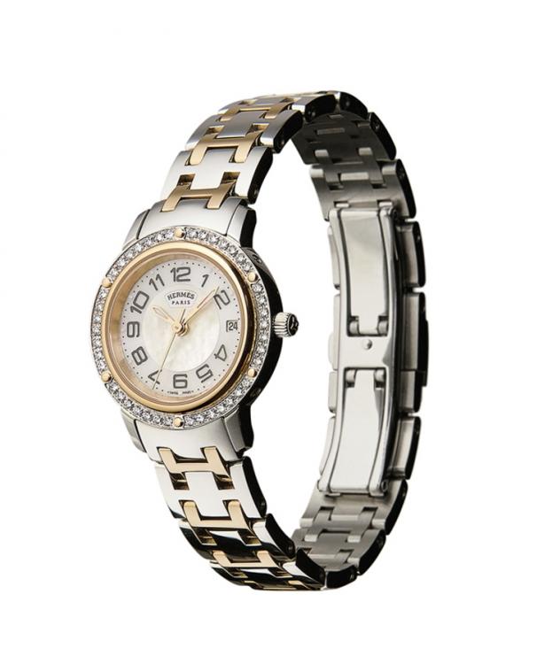 Часы Clipper, сталь, желтое золото, перламутровый циферблат, безель украшен бриллиантами, Herm?s
