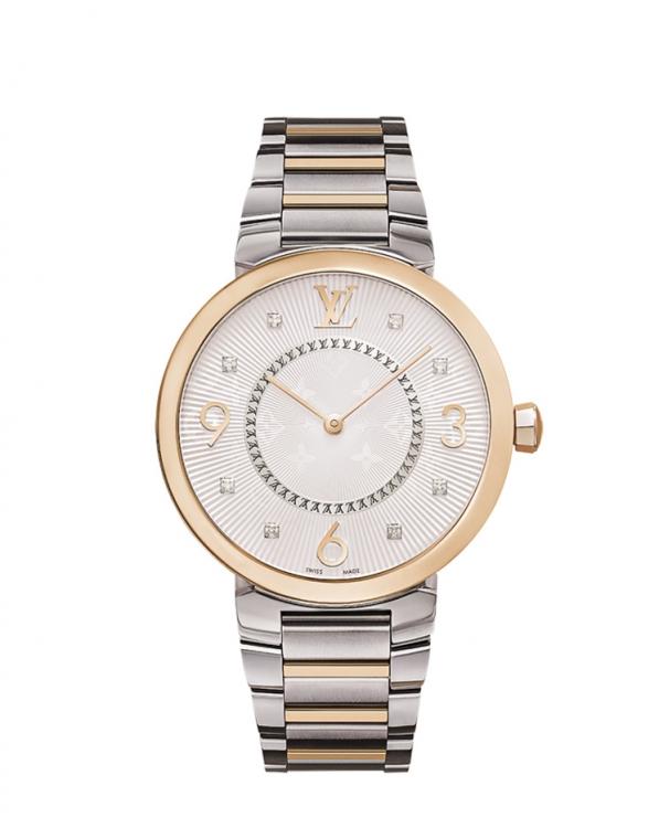 Часы Tambour Monogram, сталь, розовое золото, циферблат с гильоше и бриллиантами, Louis Vuitton