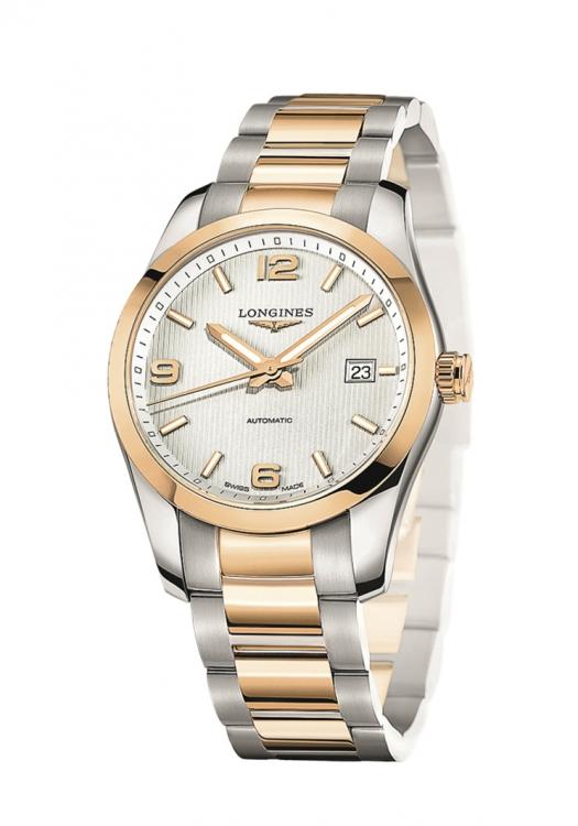 Часы Conquest Classsic, сталь, розовое золото, Longines