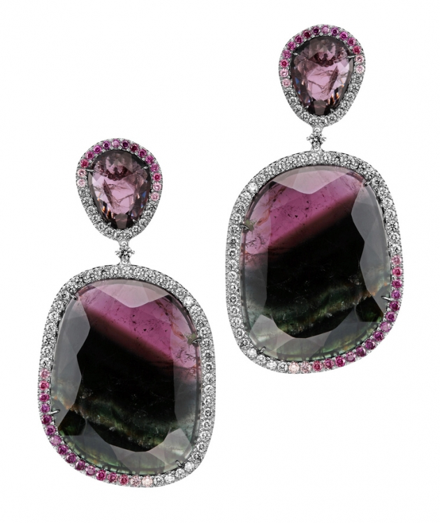 Серьги Kashmir, белое золото, белые и фиолетовые бриллианты, турмалины, Di.Go
