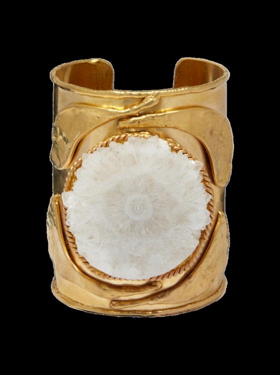 Браслет, медь с золотым напылением, белый агат, Sylvia Toledano