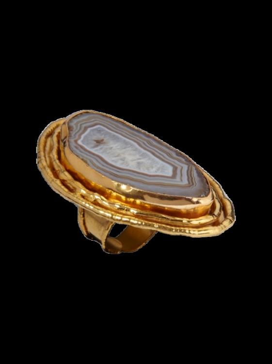 Кольцо, медь с золотым напылением, черный агат, Sylvia Toledano