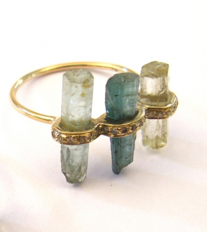 Кольцо, золото, зеленый кварц, Mathilde Danglade